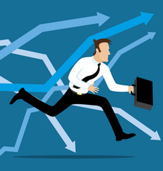 Businessman running to succes vector