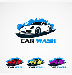 Car wash set with any color concept logo icon vector