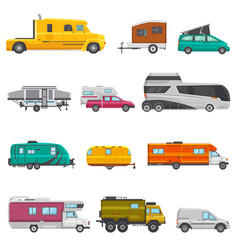 caravan camping trailer and rv caravanning vector image