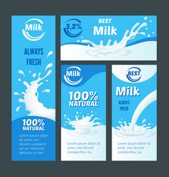 Cartoon natural milk brochures vector