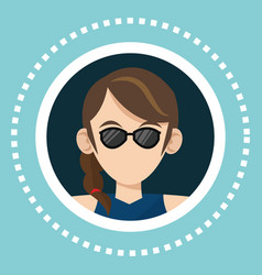 character girl sunglasses social media vector image