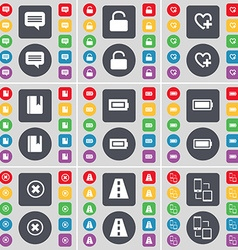 Chat bubble Lock Heart Dictionary Battery Stop vector image