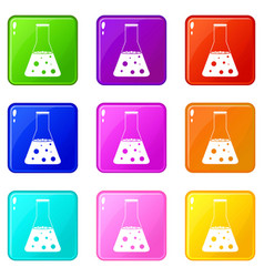 Chemical flask icons 9 set vector