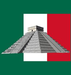 Chichen itza pyramid flag background vector