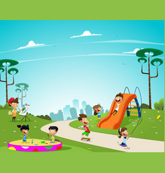 children play in the playground vector image