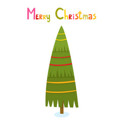 christmas tree with text in cartoon style vector image