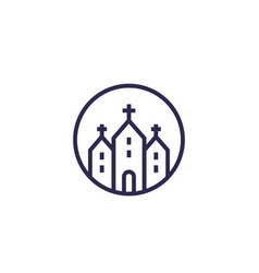 church catholic temple line icon vector image