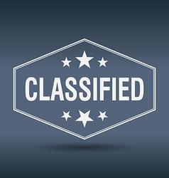 Classified hexagonal white vintage retro style vector