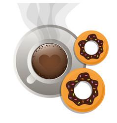 coffee cup bread dessert donuts vector image