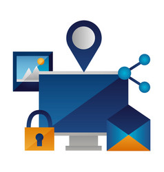 computer email padlock picture vector image