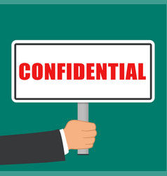 Confidential word sign flat concept vector
