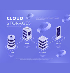 connected databases with cloud storages vector image