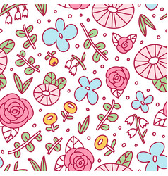cool doodle floral pattern vector image