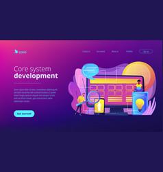 core system development concept landing page vector image