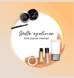 Cosmetic wreath design with eyeliner concealer vector