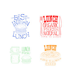 creative hand drawn lunch logos organic and tasty vector image