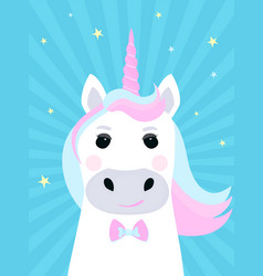 cute unicorn cartoon character funny fantastic vector image