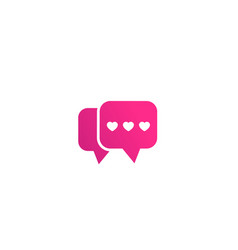 Dating app love chat logo icon on white vector