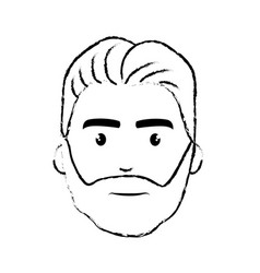 figure nice face man with beard and hairstyle vector image