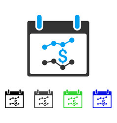 Financial charts calendar day flat icon vector