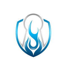 fire key holo flame logo template icon oil gas vector image