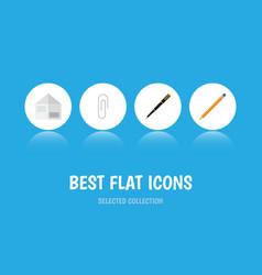 flat icon equipment set of fastener page nib pen vector image vector image