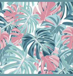 floral seamless tropical pattern with leaves vector image