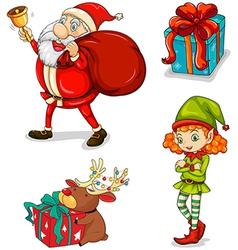 Four christmas symbols vector
