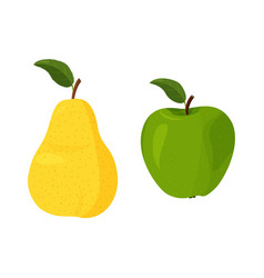 Fresh yellow pear and green apple with green leaf vector