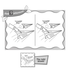 game black find 9 differences paper airplane vector image