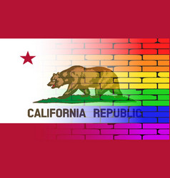 Gay rainbow wall california flag vector