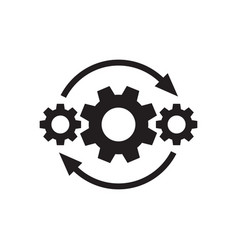 Gears wheel with arrows - concept black icon vector