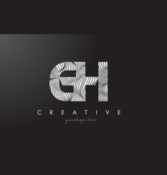 gh g h letter logo with zebra lines texture vector image