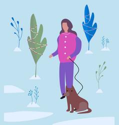 girl walking a dog flat vector image