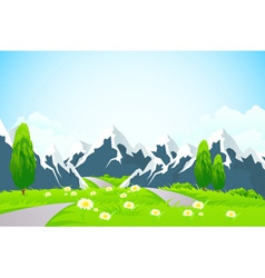 Green Landscape Background with Mountains vector