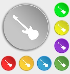 Guitar icon sign Symbol on eight flat buttons vector image