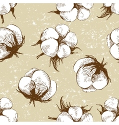 hand drawn cotton plant seamless vector image