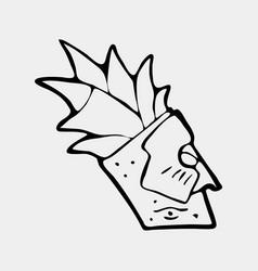 hand drawn totem face symbol vector image