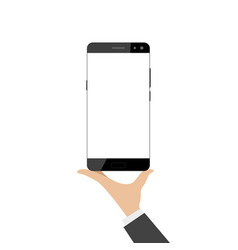 hand holds a smartphone vector image
