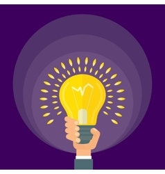 hand holds bright lamp vector image