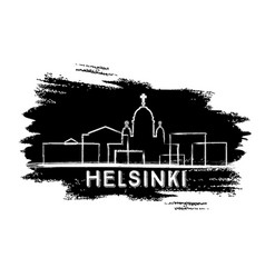 helsinki skyline silhouette hand drawn sketch vector image
