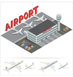 Isometric Airport Building Terminal Airplane vector