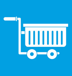 Large plastic supermarket cart icon white vector