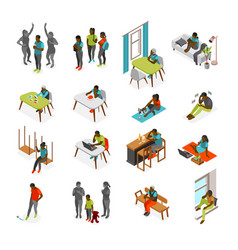 Loneliness isometric recolor set vector