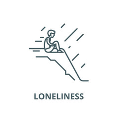 Loneliness line icon linear concept vector