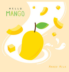 mango juicy milk fruit summer cartoon vector image