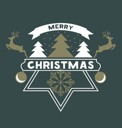 merry chrismas greeting card with snow christmas vector image