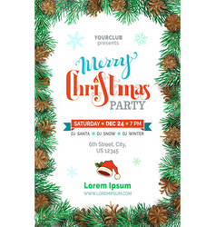 merry christmas party template vector image