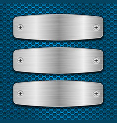 metal brushed plates with screws on blue vector image