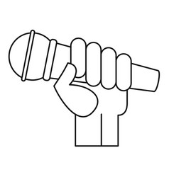 microphone hand icon outline style vector image
